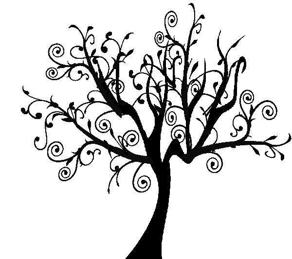 Tree clip art at. Clipart leaf swirl