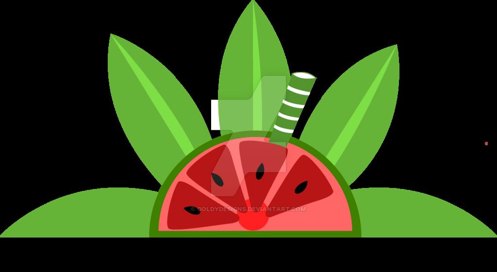 Lucy juicy flavor logo. Watermelon clipart leaf