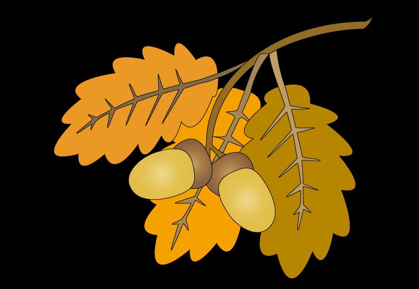 Oak leaves raster painting. Clipart mountain bitmap
