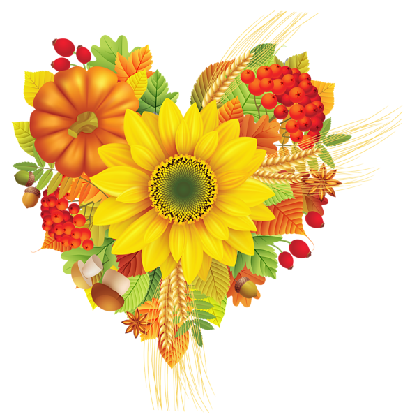 Autumn heart png image. Clipart leaves decoration