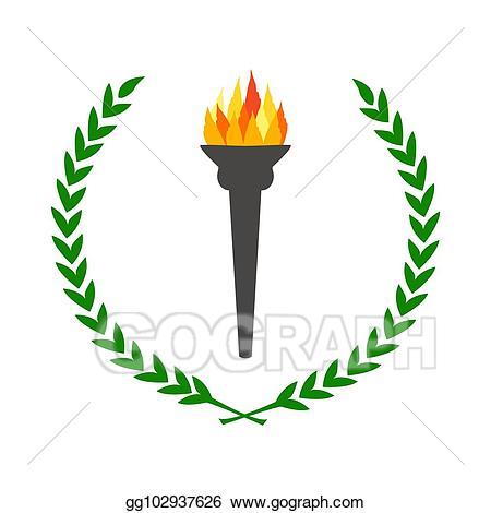 Laurel clipart olympic. Stock illustration flame burning