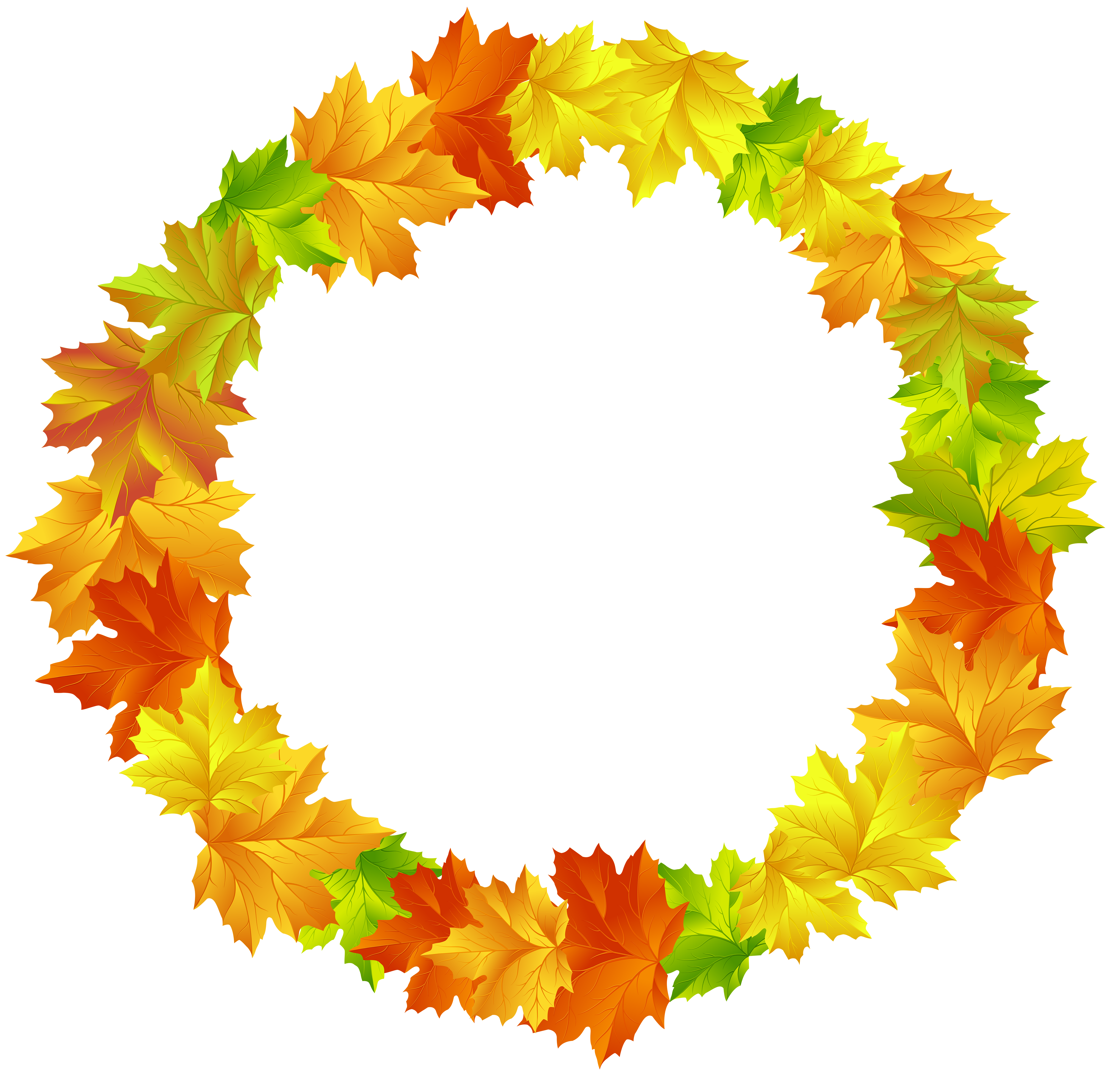 Fall round frame clip. Autumn leaves border png