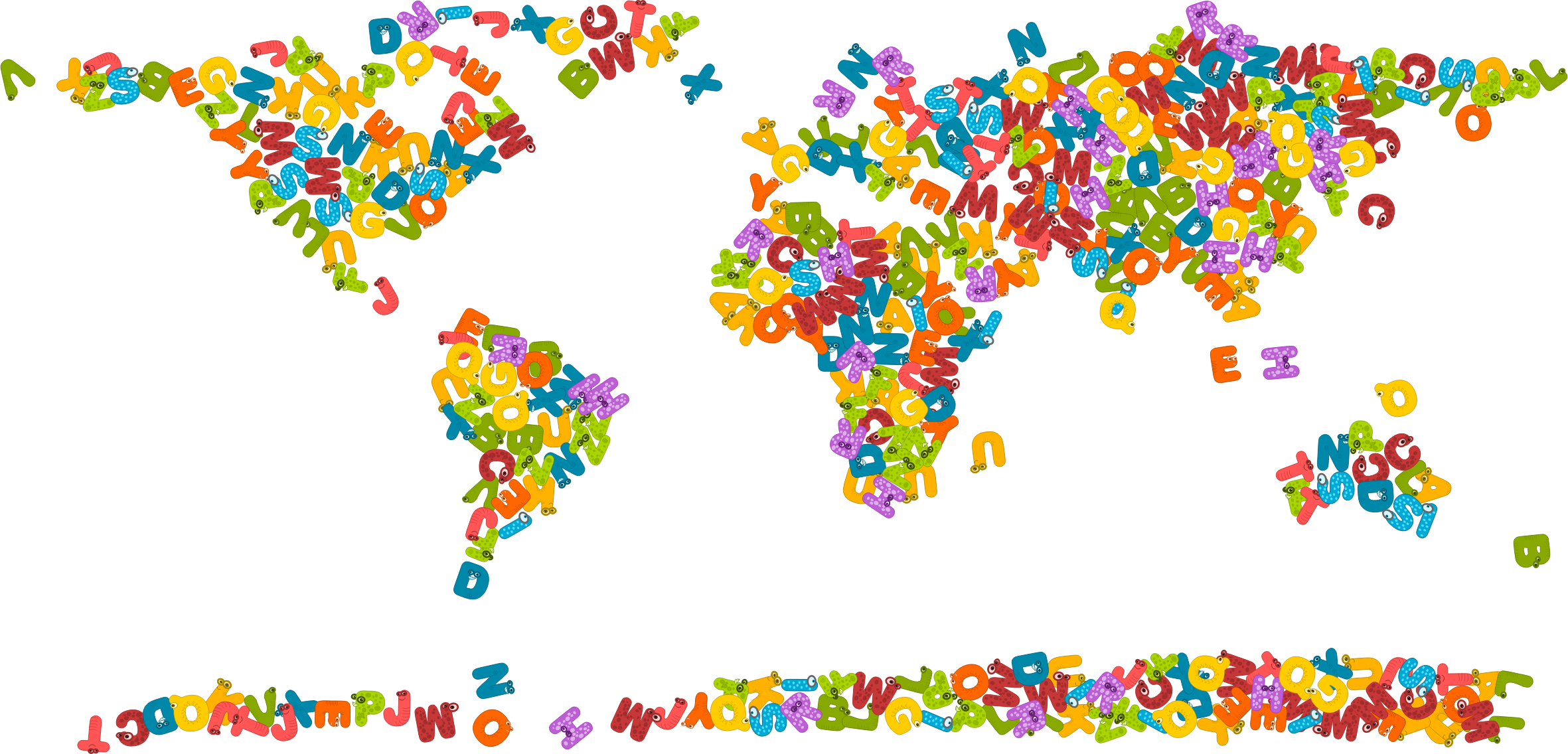 Animals alphabet world map. Letters clipart animal