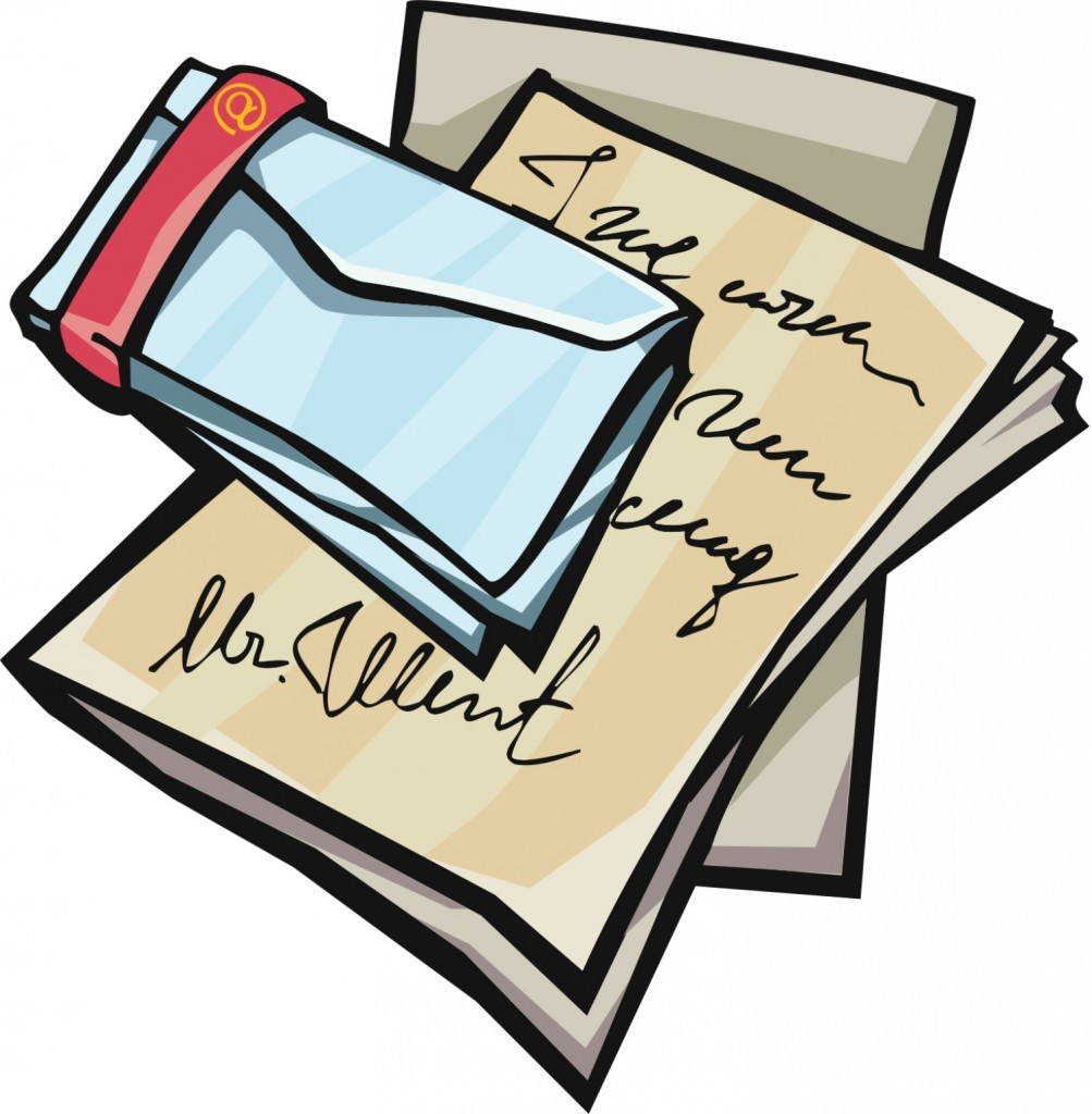 Child writing a boy. Envelope clipart reference letter