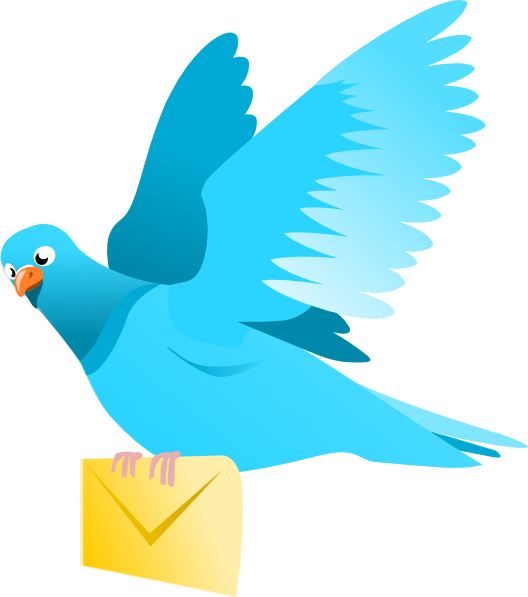 A flying pigeon delivering. Letters clipart delivery