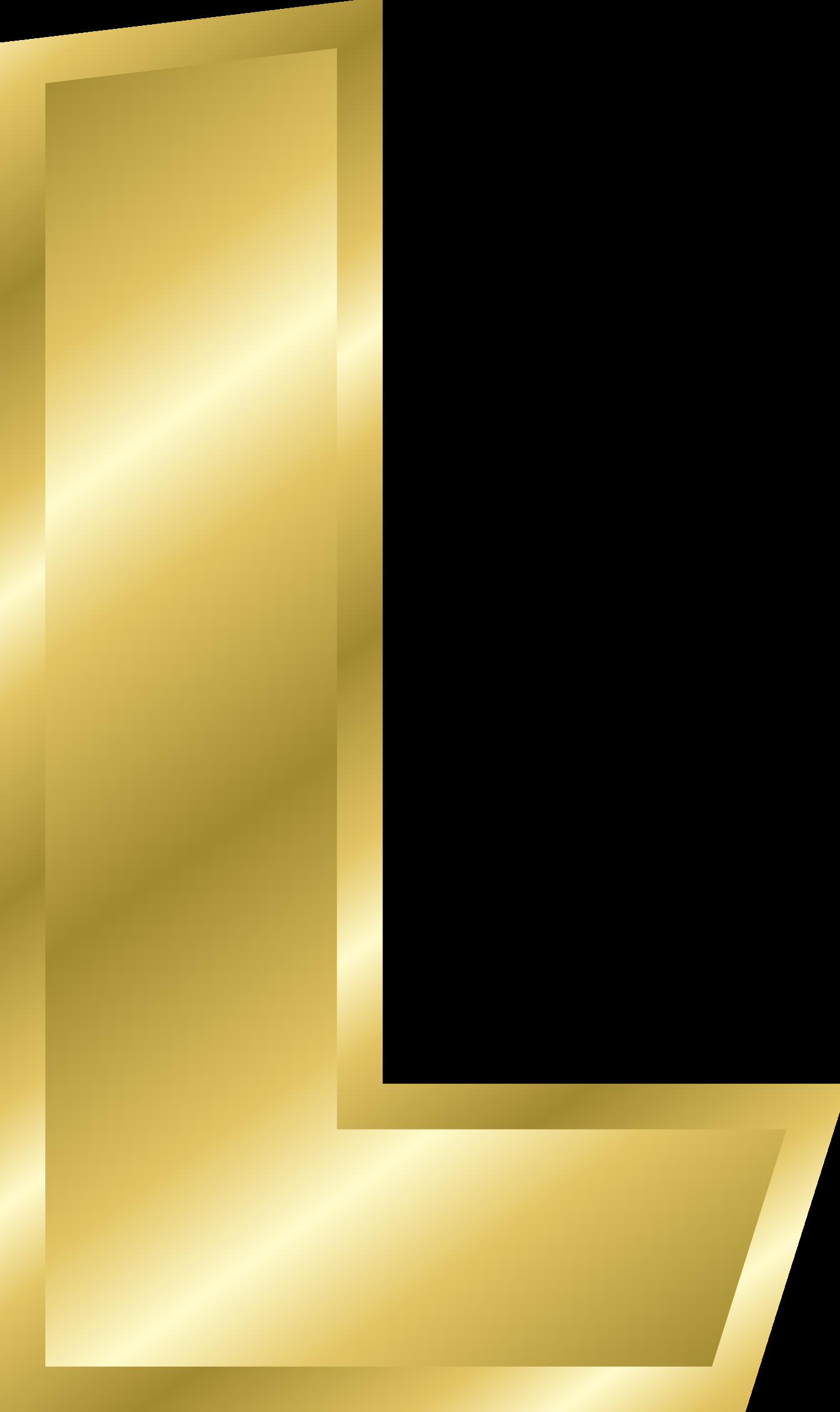L clipart big letter. Effect letters alphabet gold