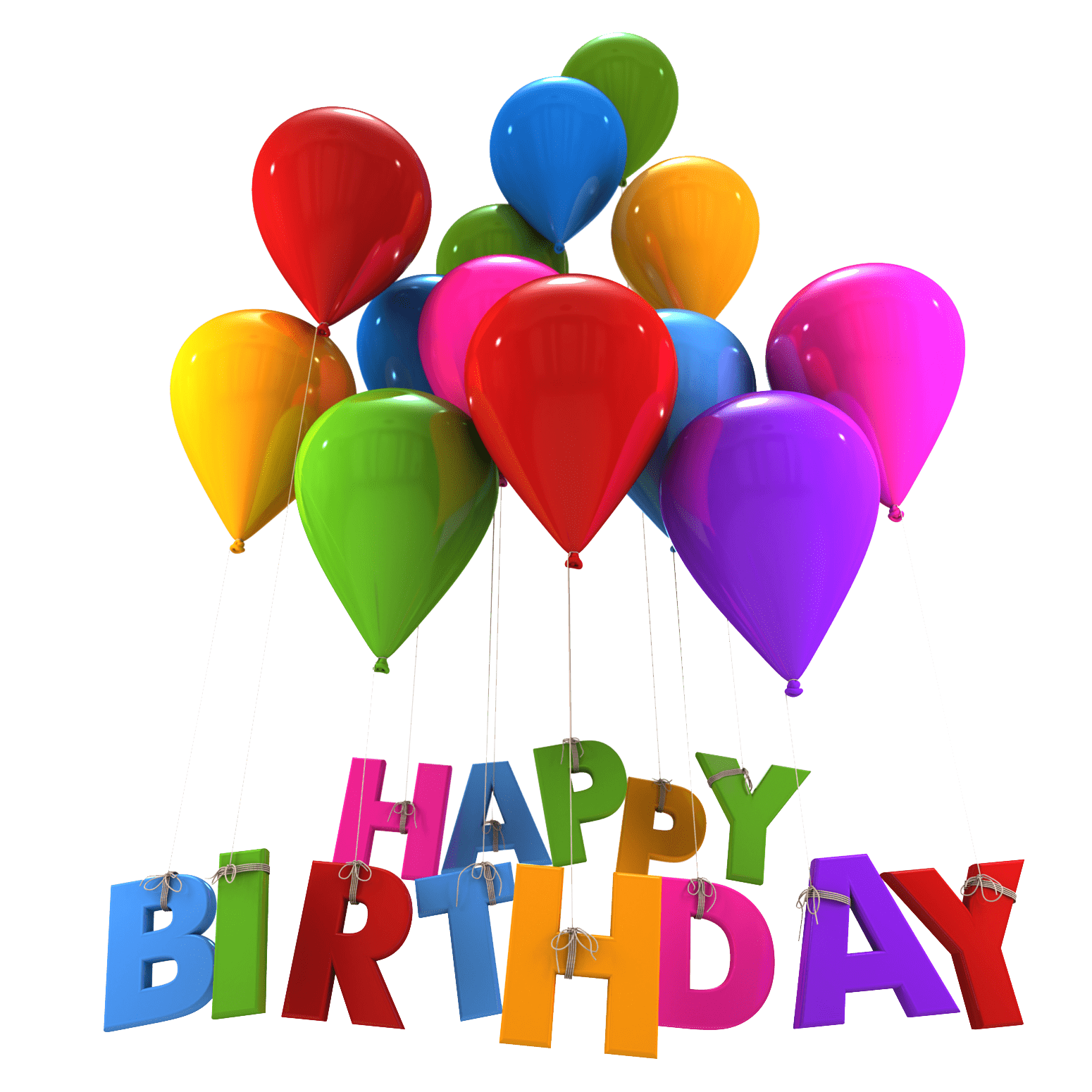 Balloons hanging letters transparent. Gift clipart happy birthday