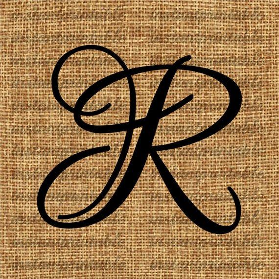 Monogram letter clip art. R clipart initial