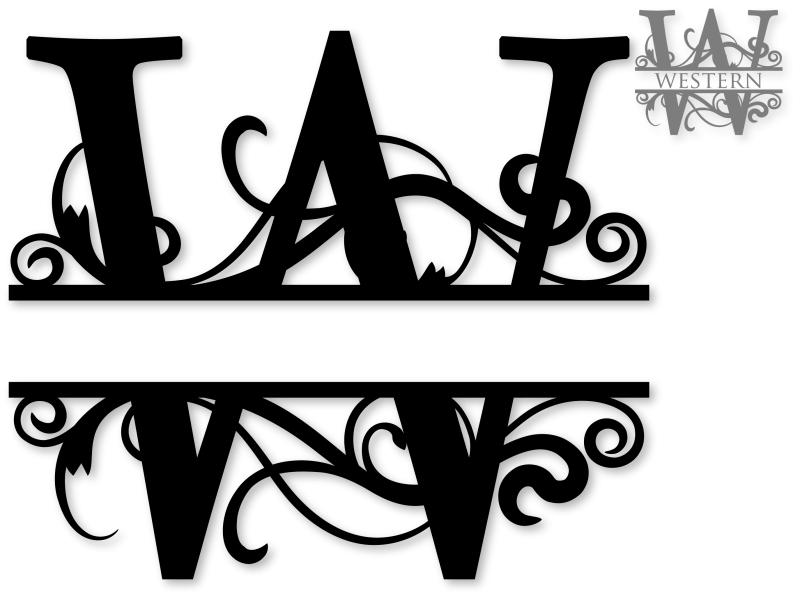 Flourished split w snapdragon. M clipart monogram