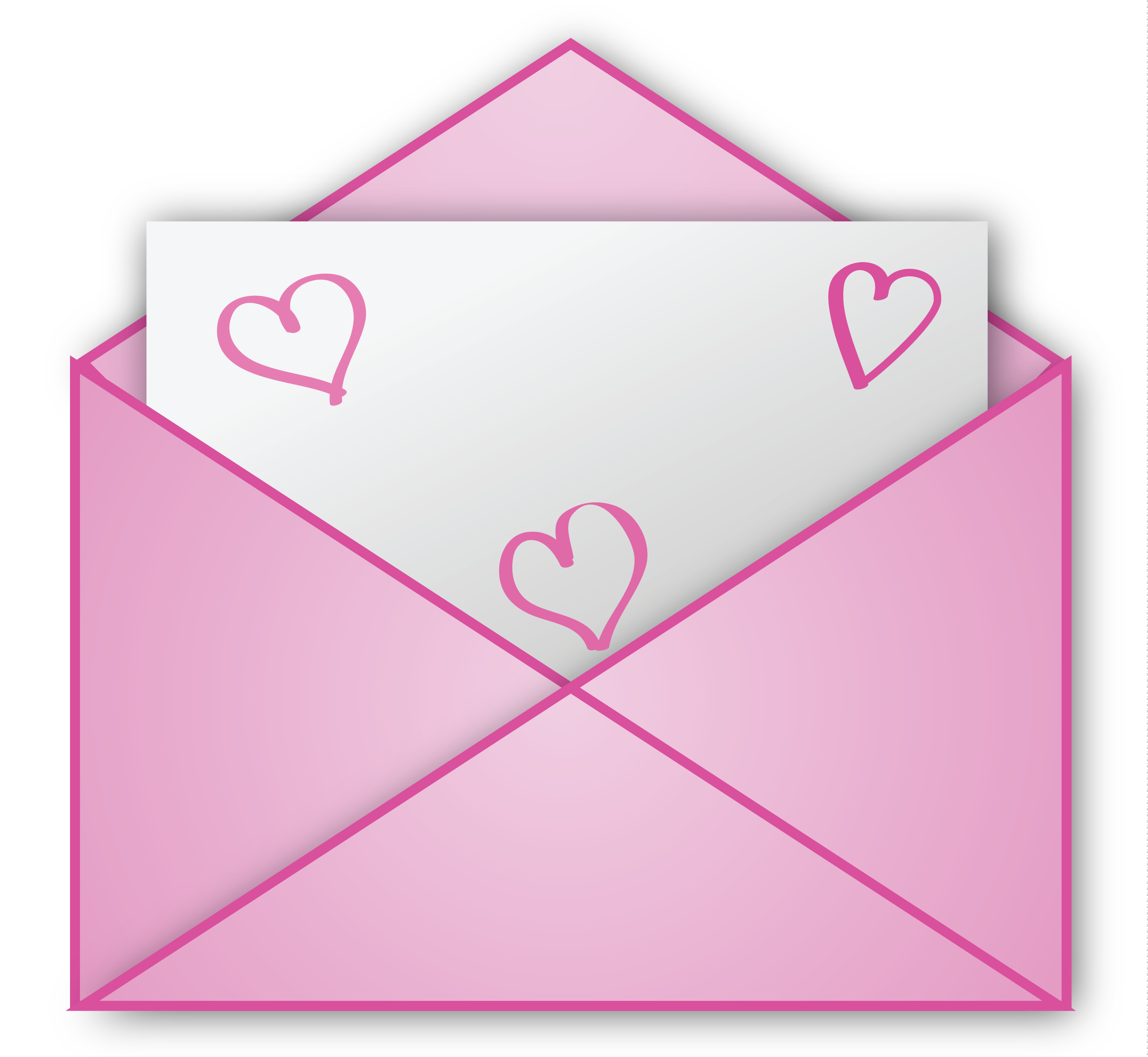 Pink pencil and in. Envelope clipart reference letter