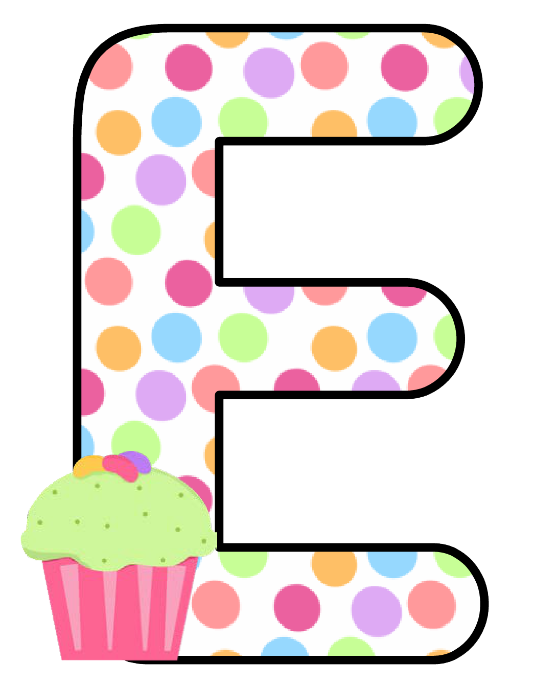 Ch b alfabeto cupcake. Label clipart polka dot