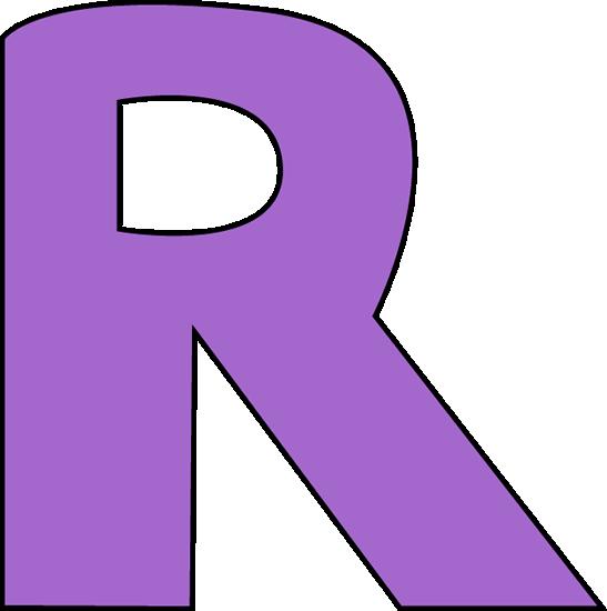 Letter clip art image. R clipart purple