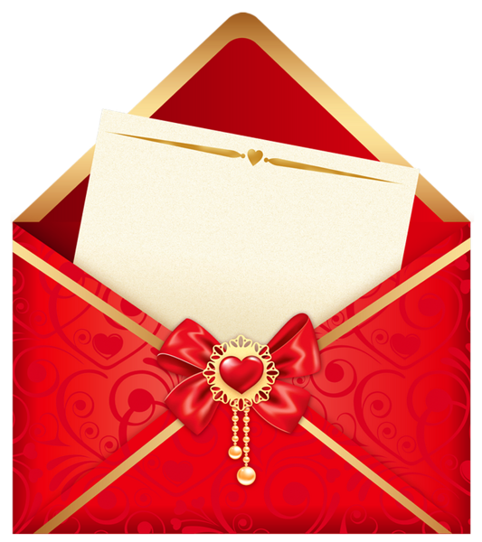 Envelope clipart message box. Valentines day red letter