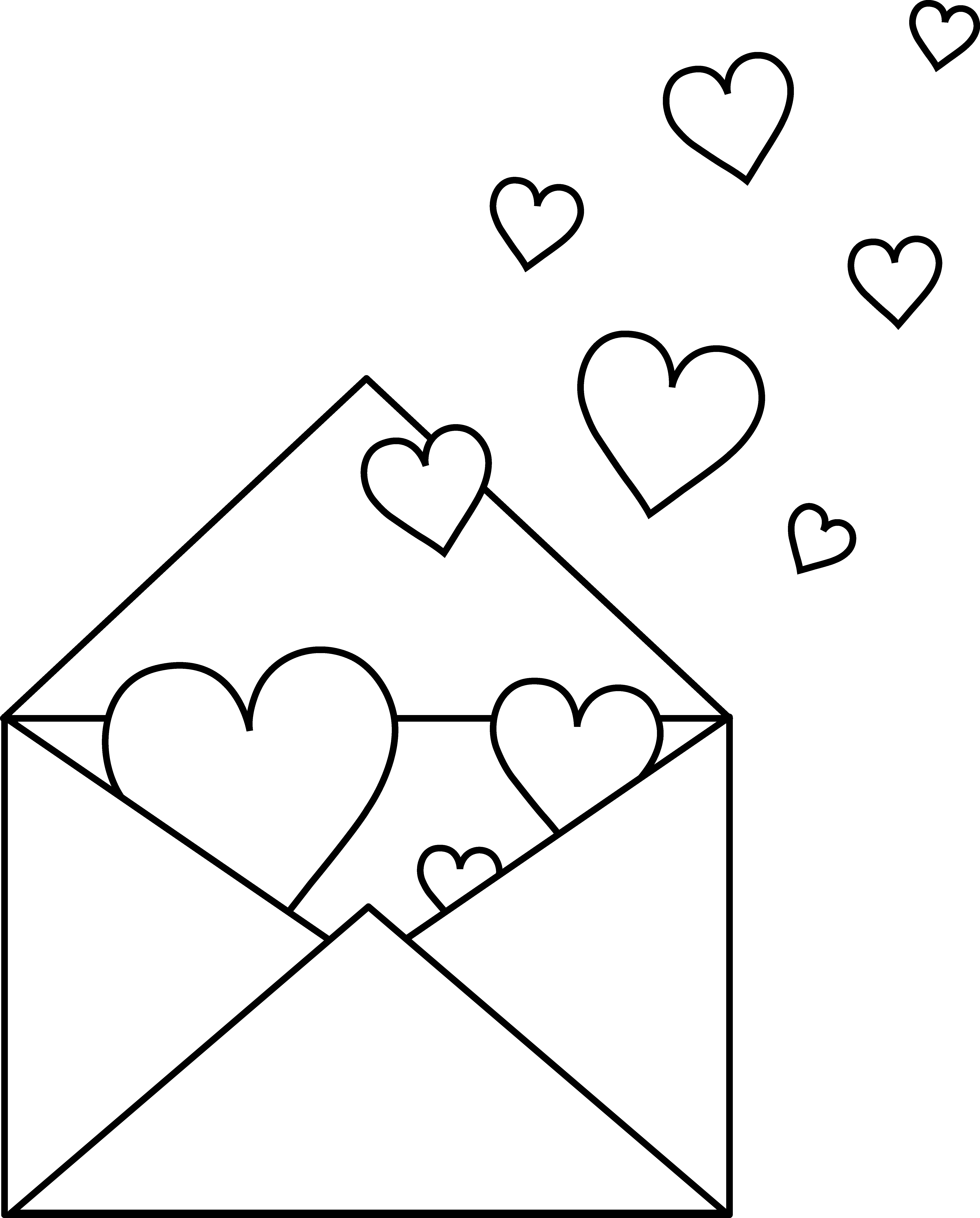 Colorable free clip art. Mail clipart love letter