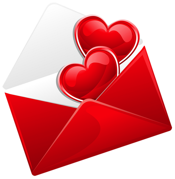 Transparent Red Love Letter with Hearts PNG Picture