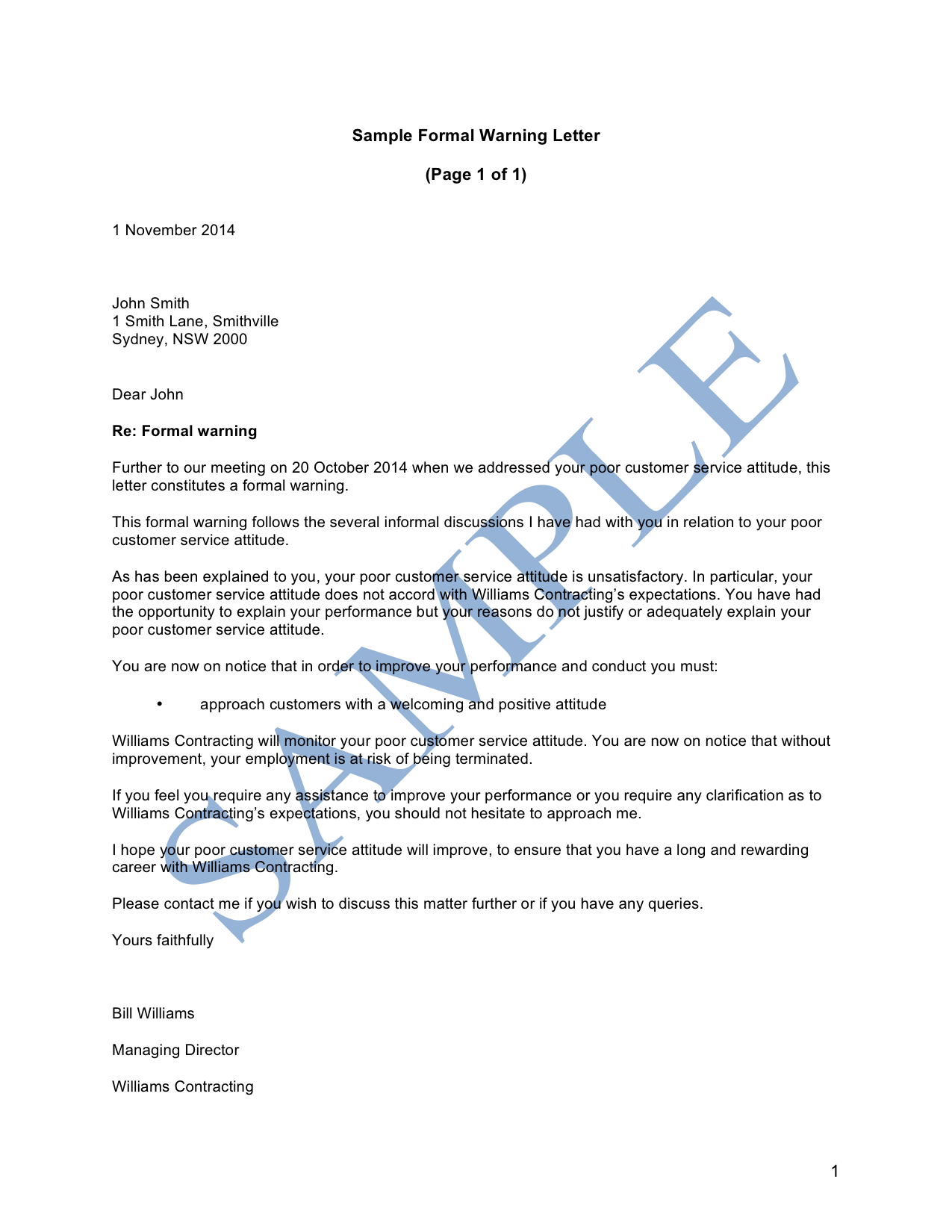 Document clipart business letter. Sample warning to employee