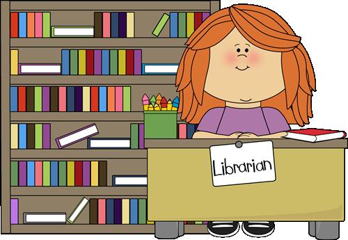 Clipart library. Girl classroom librarian clip