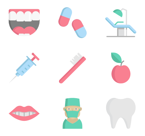 Dentist clipart background. Tooth icons free vector