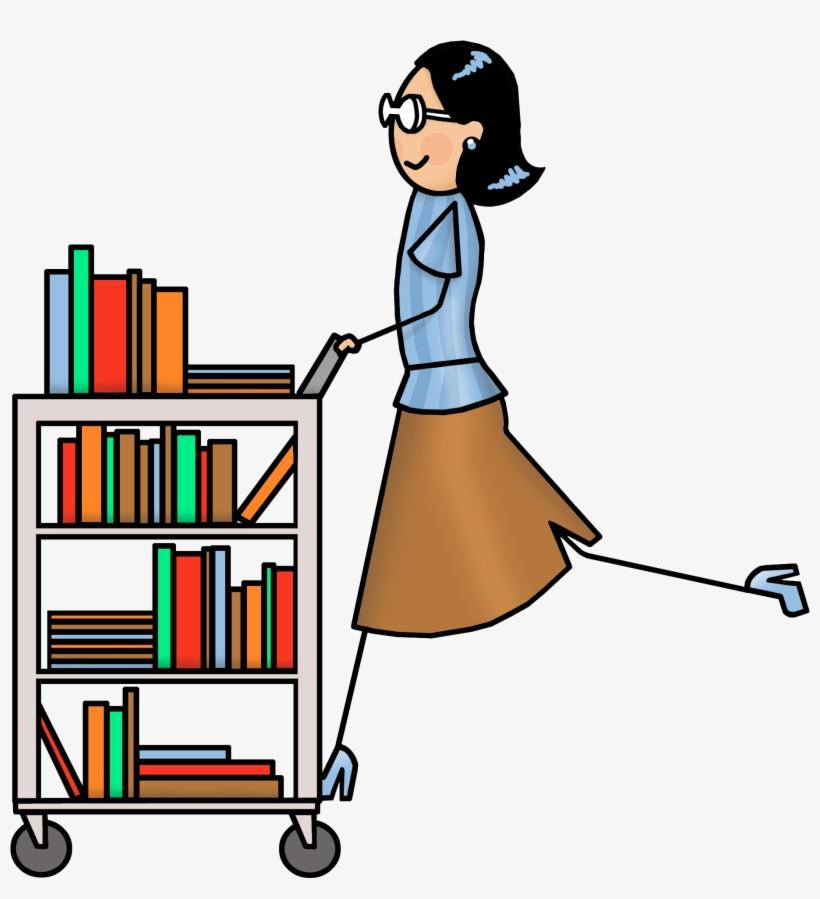 Book cart clip art. Clipart library librarian