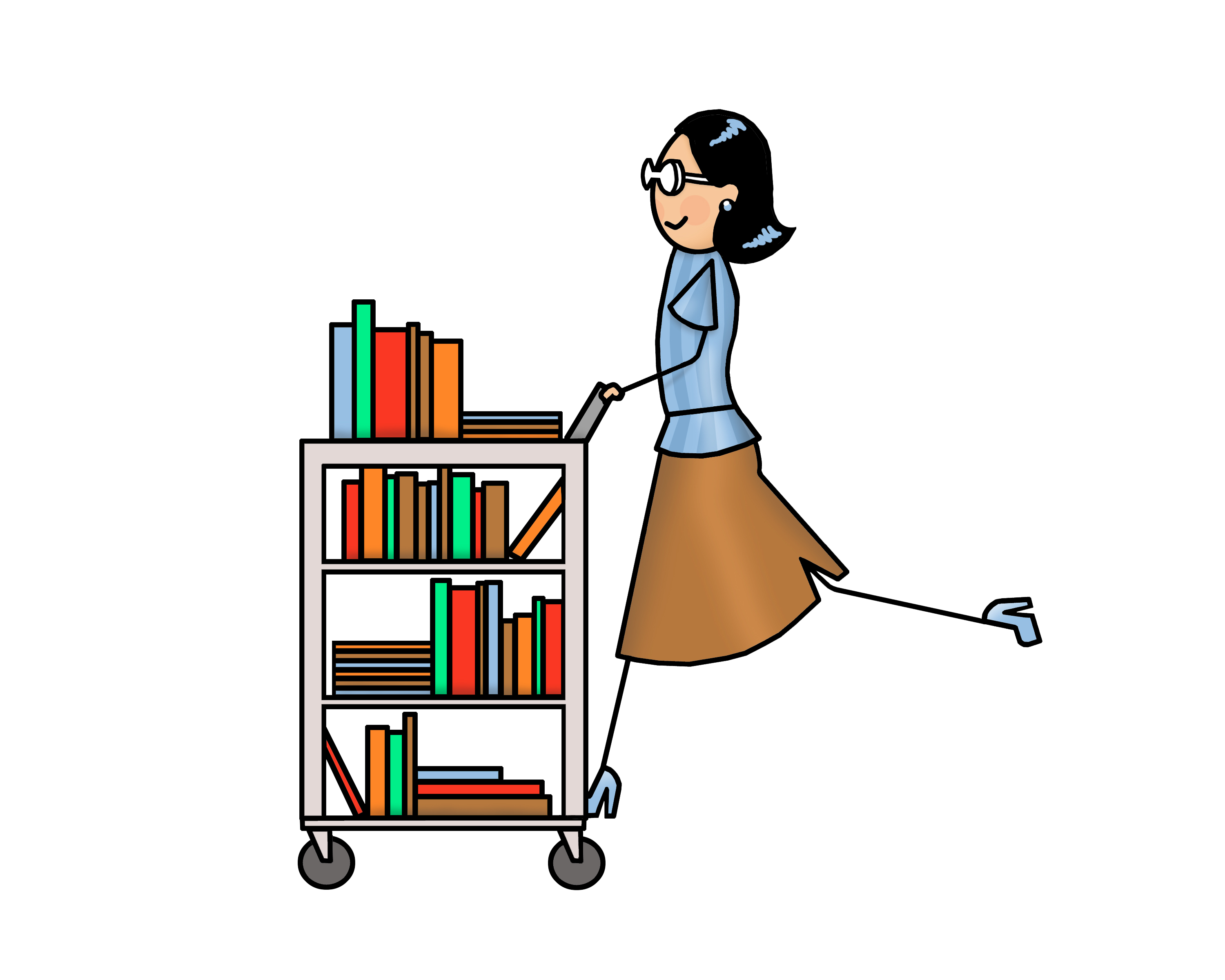 Library images clip art. Librarian clipart book cart