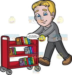 A male pushing library. Librarian clipart book cart