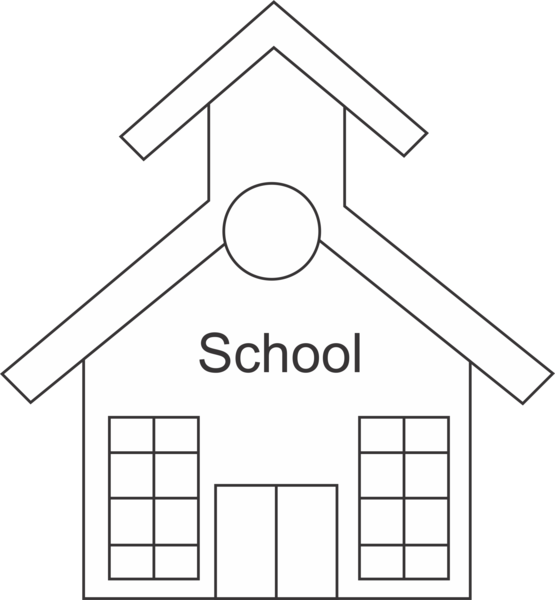 House black and white. Outline clipart school