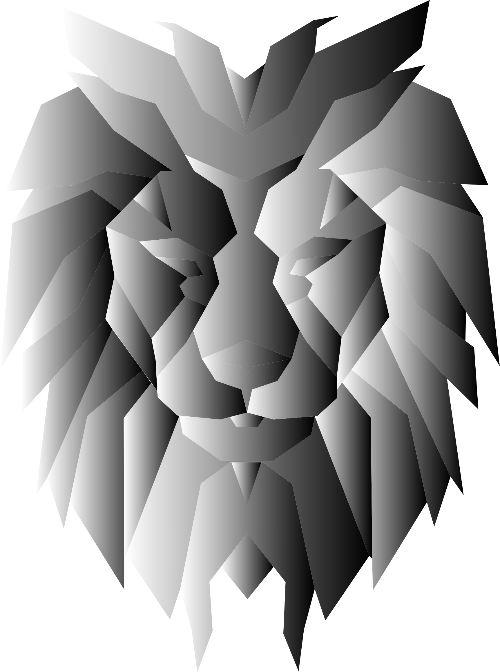 Grayscale polygonal face big. Clipart lion abstract