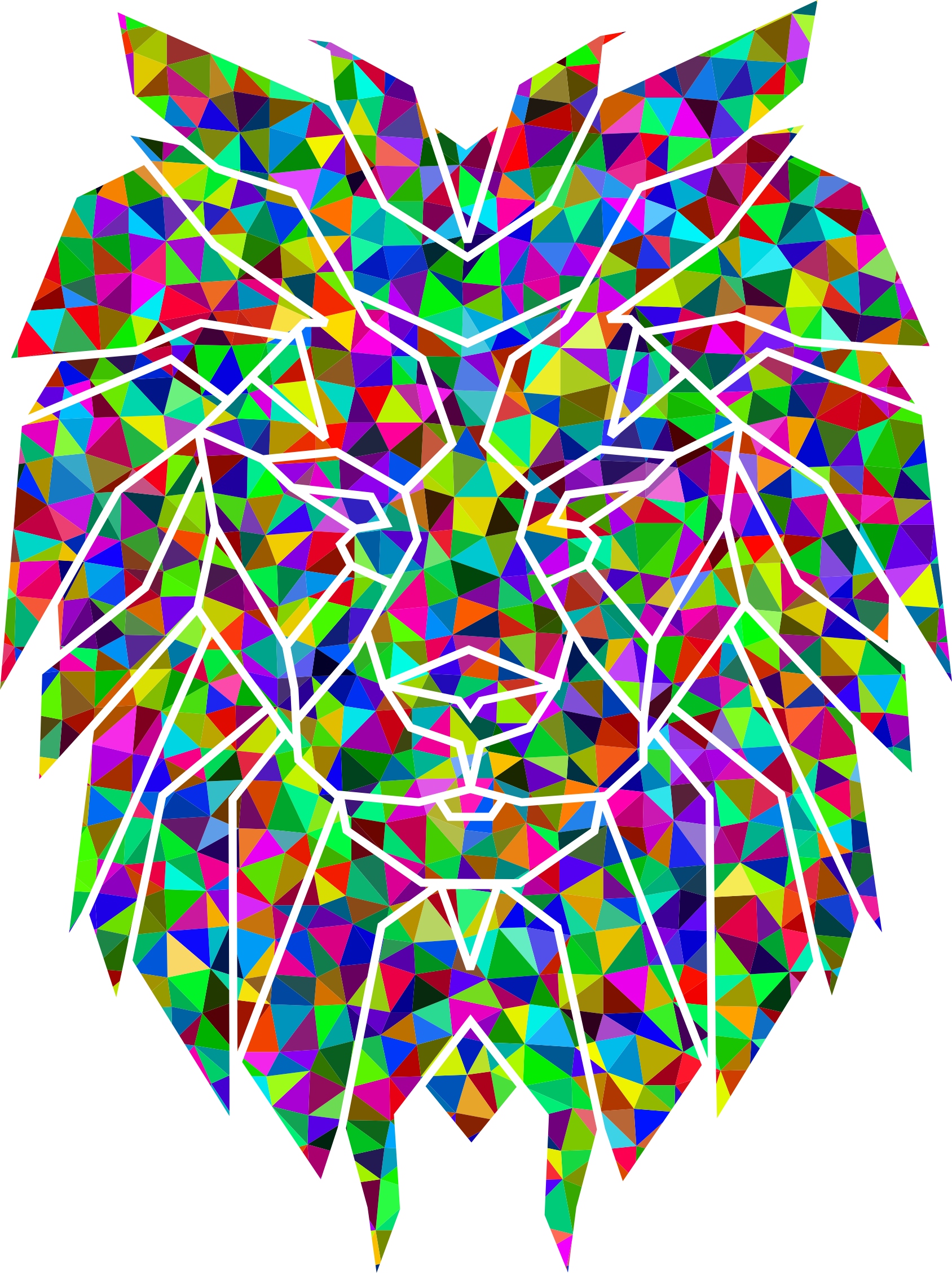 Prismatic low poly polygonal. Clipart lion abstract