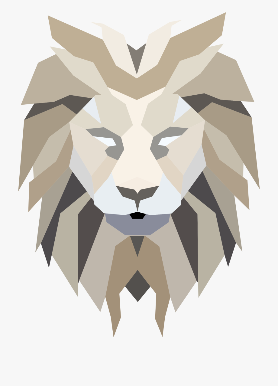 Face low poly transparent. Clipart lion abstract