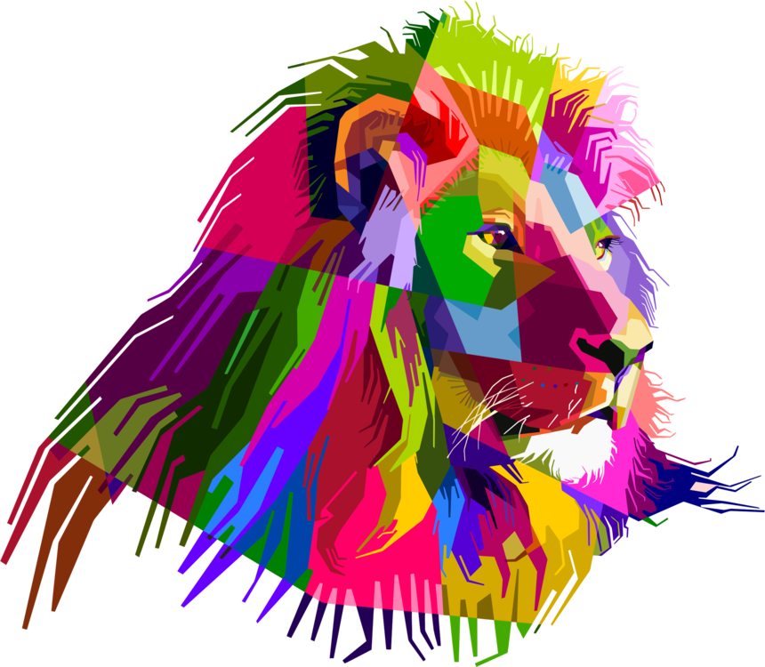 clipart lion abstract
