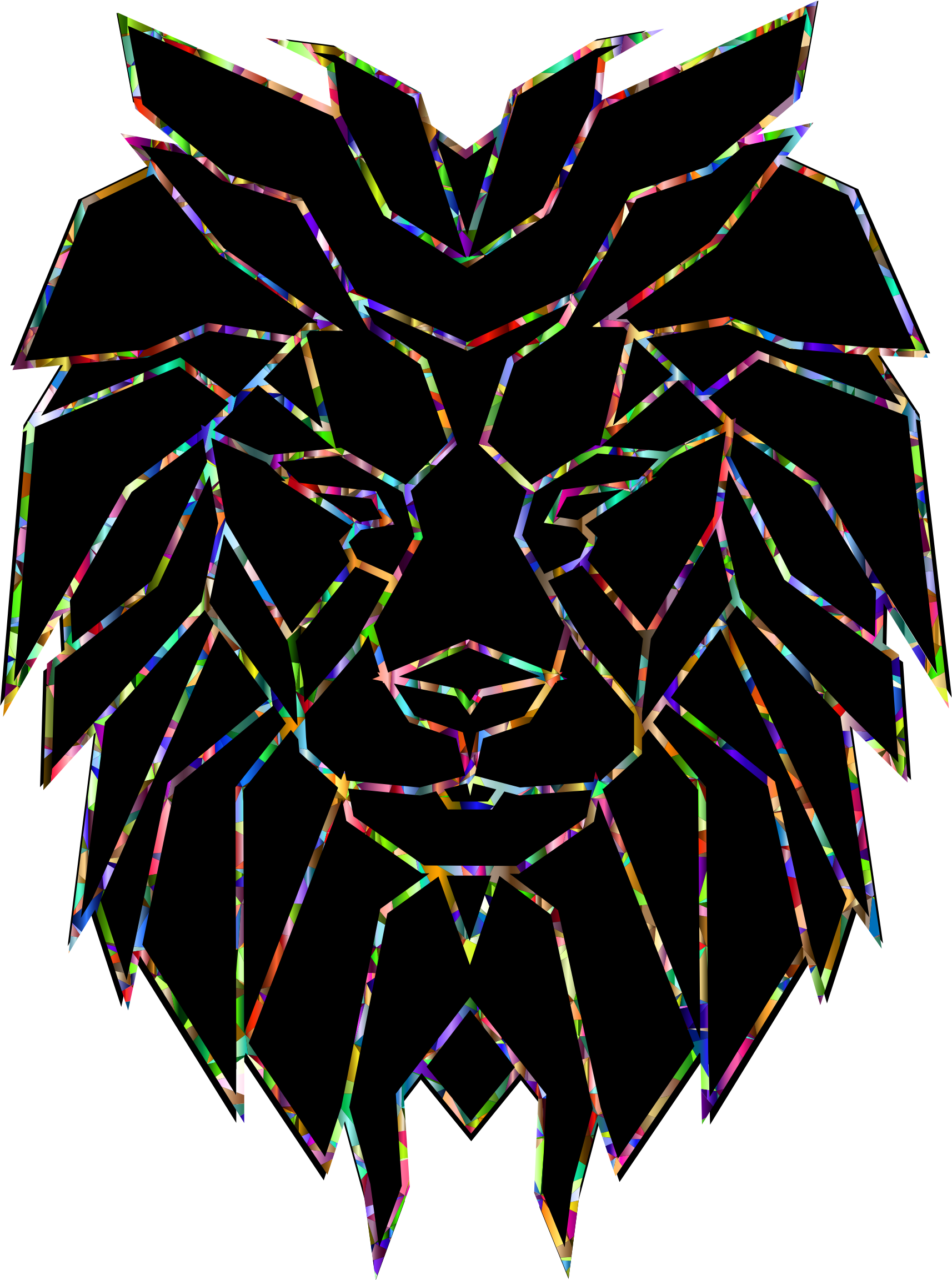 Chromatic polygonal face big. Clipart lion abstract