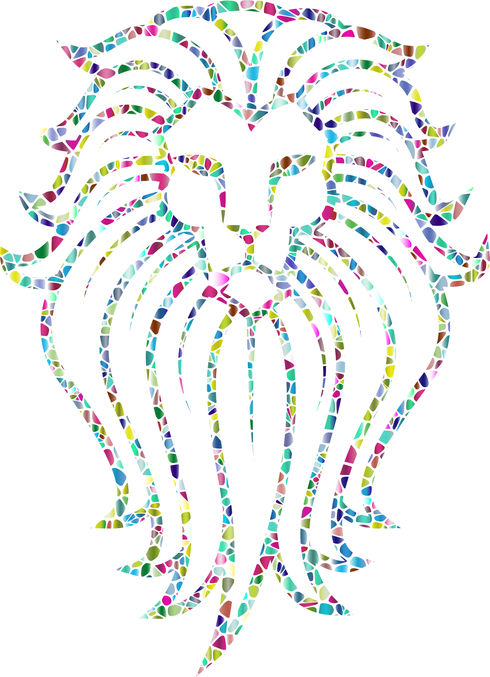 Clipart lion abstract. Polyprismatic tiled face tattoo