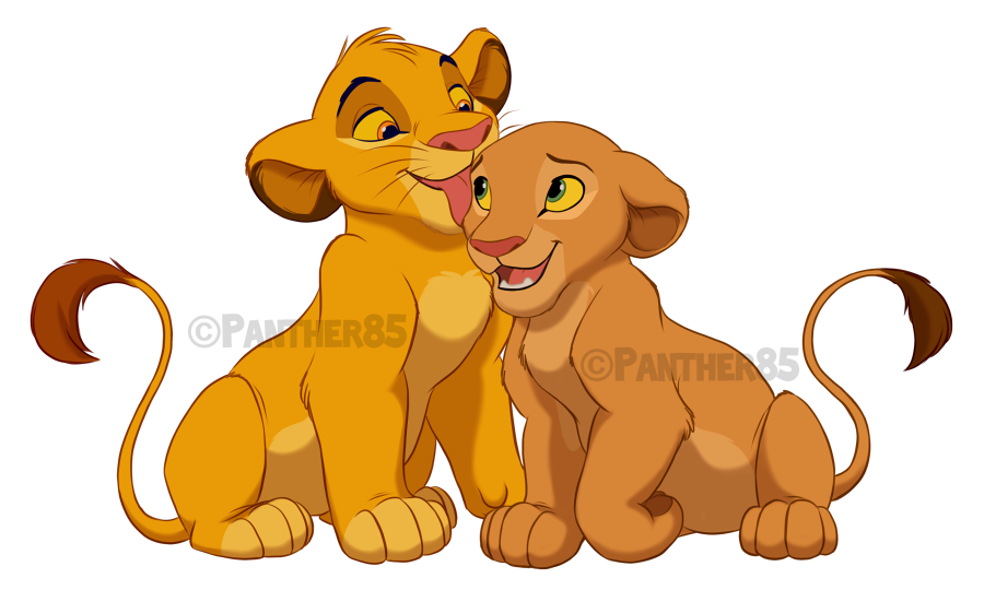 Kitties in love by. Clipart lion birthday