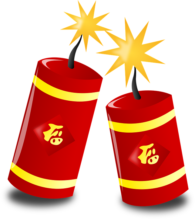 Chinese new year png. Explosion clipart diwali bomb