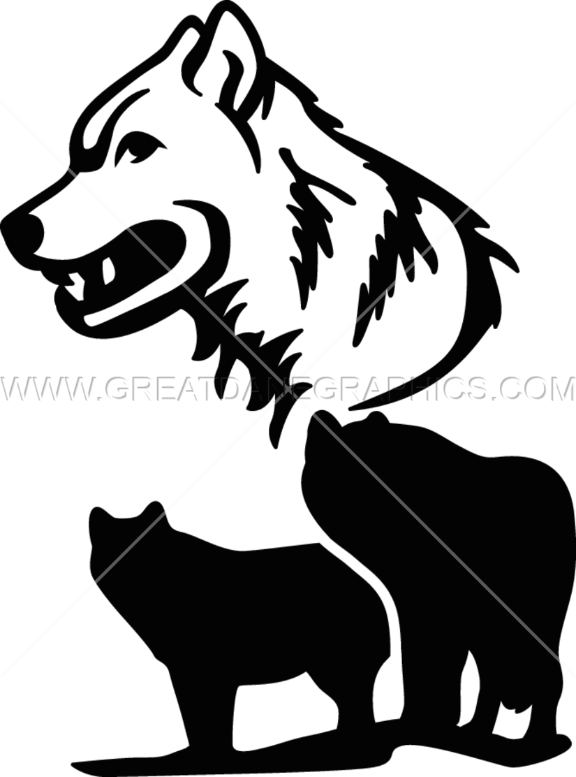 Wolf production ready artwork. Professional clipart collage