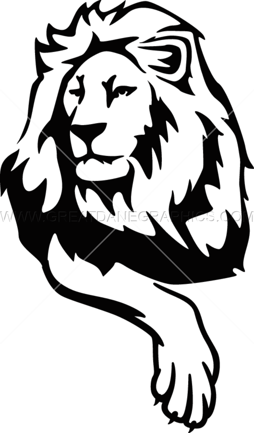 Proud clipart black and white. Lion production ready artwork