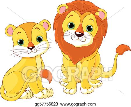Vector art drawing gg. Clipart lion couple
