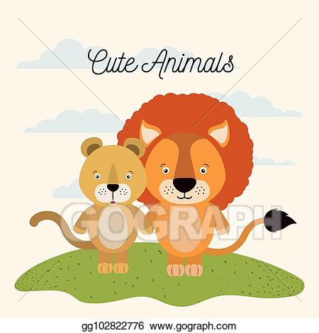 Clipart lion couple. Vector white background with