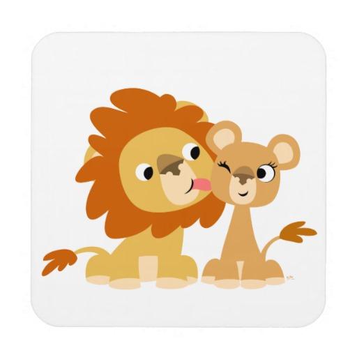 Clipart lion couple. The kiss cute cartoon
