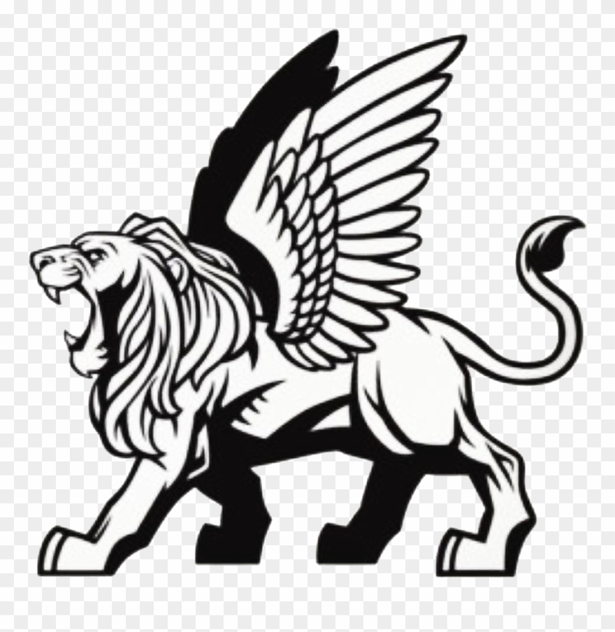 Clipart lion flying. Leone alato disegno png
