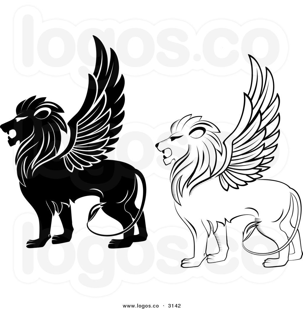 This stock logo image. Clipart lion flying