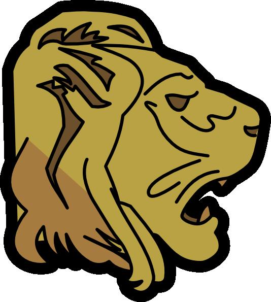 Head clip art at. Silhouette clipart lion