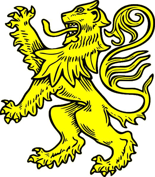 Medieval clipart medieval symbol. Gold lion clip art