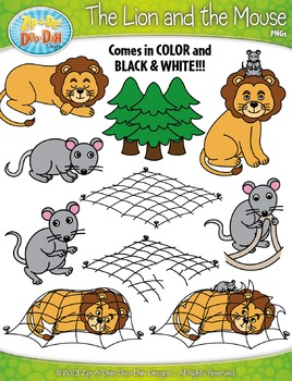 The and famous fables. Clipart lion mouse