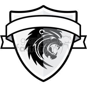 With and ribbon royalty. Lion clipart shield