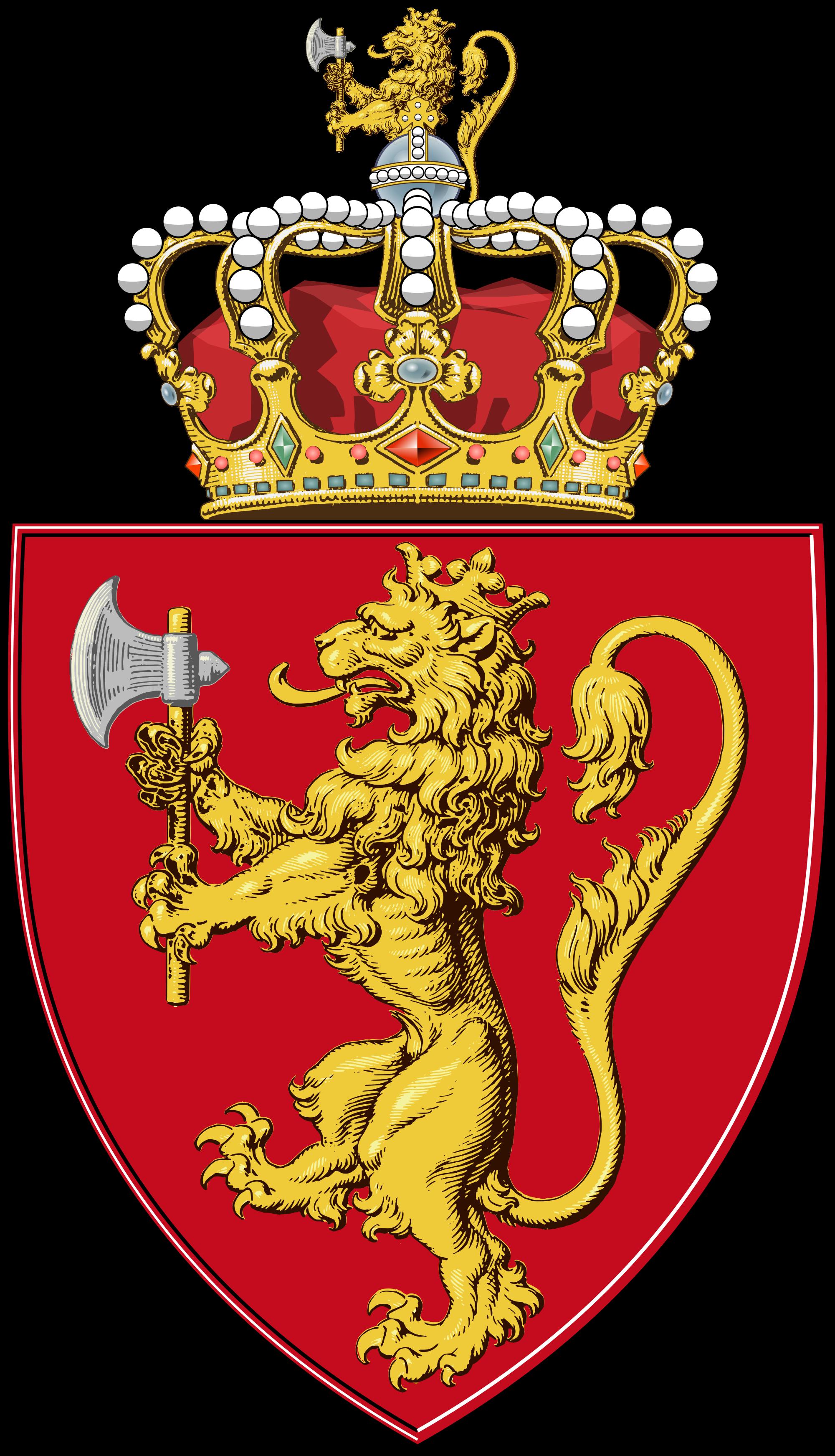 Clipart shield lion. Bearing the norwegian emblems