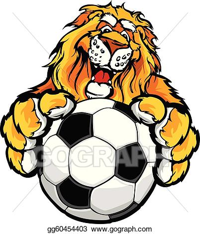 Vector stock cute happy. Clipart lion soccer