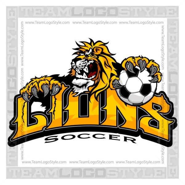 Clipart lion soccer. Team logo vector