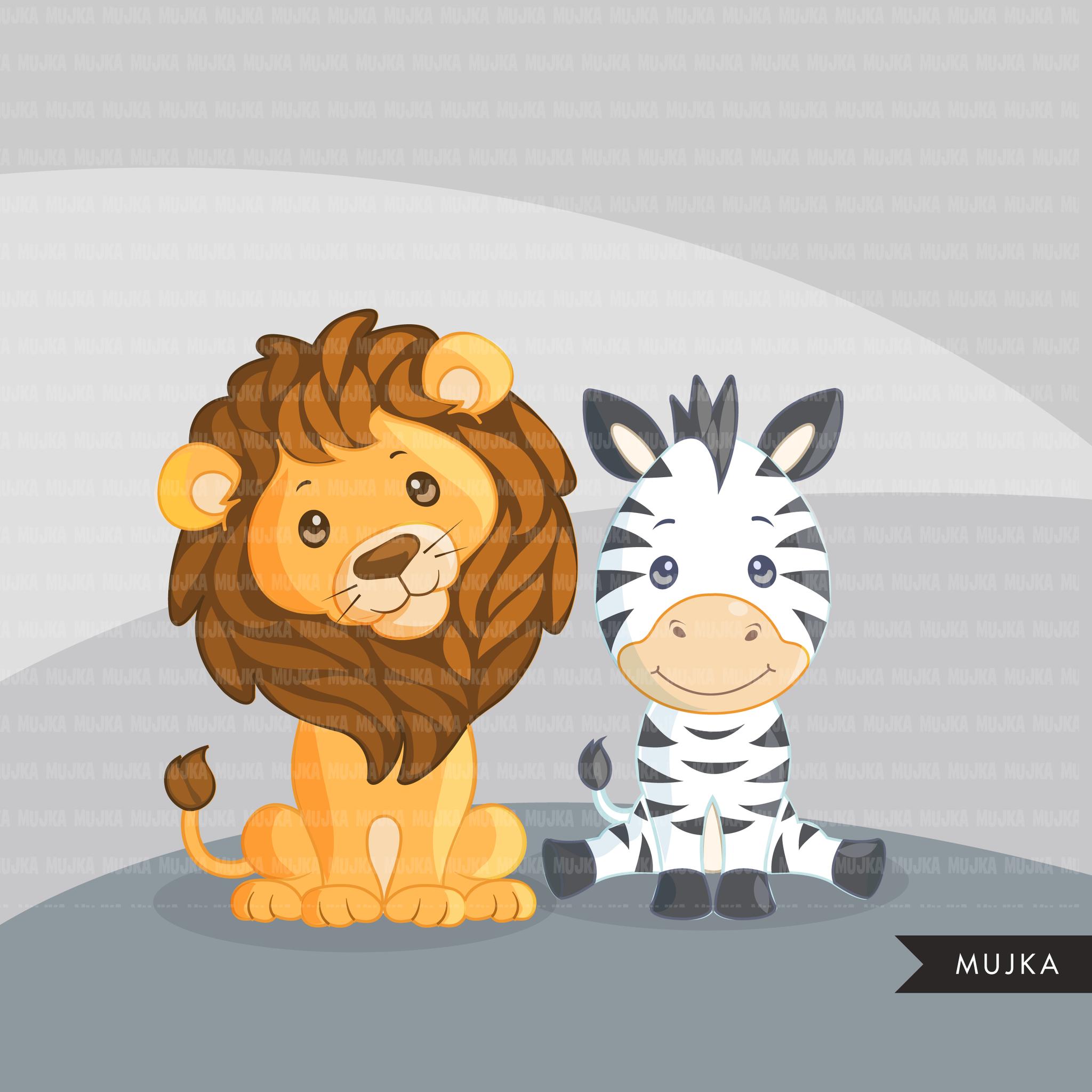 Bundle collection of animals. Clipart zebra safari themed