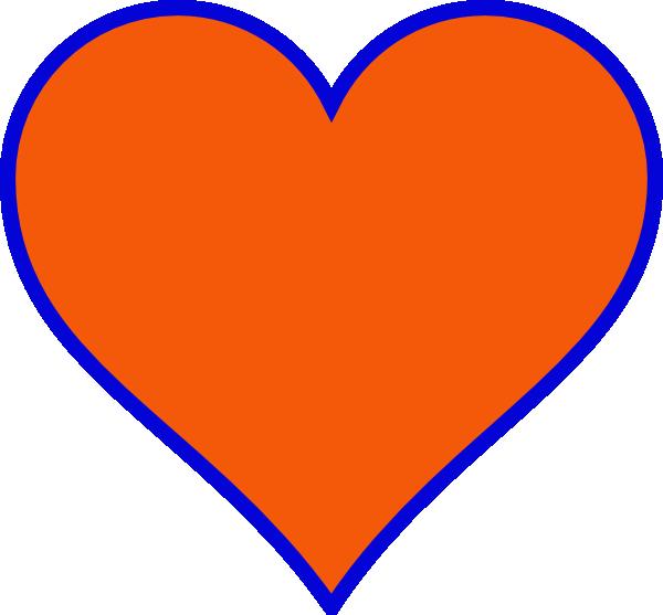 Heart clipart vector. Orange blue clip art